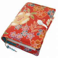 Large Bible Cover, Camellia and Cherry Blossom, Book Cover, Kimono Silk fabric
