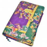 Large Bible Cover, Fabric Book Cover, Purple and Green Chinese Tapestry design