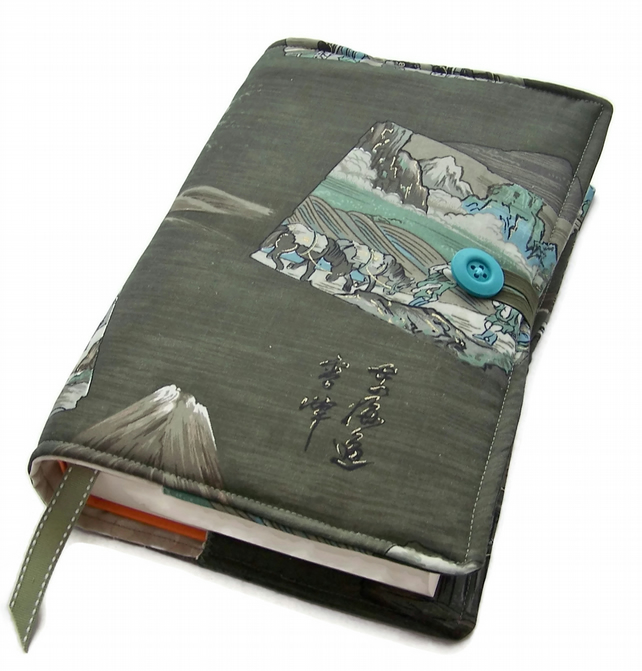 Large Book Cover, Samurai Scenes, Vintage Kimono Fabric from Japan,