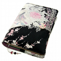 Large Bible Cover, Book Cover, Japanese Princess & Peony,  Kimono Silk fabric