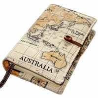 Large Book or Bible Cover in World Map fabric