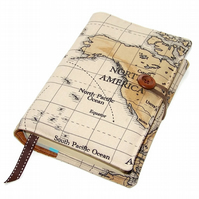 Journal Book Cover World Map of North America, Travel Book Cover,