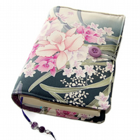 Kimono Silk Book Cover, Moonlit Orchids, Fabric Bible Cover