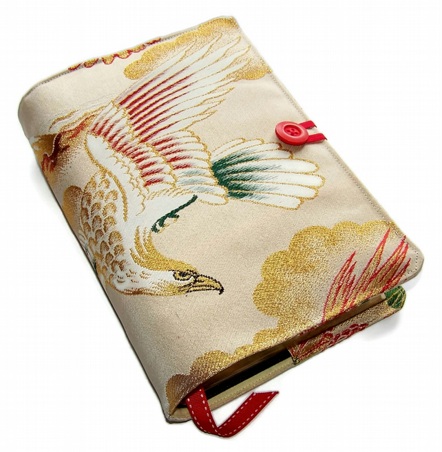 Large Bible or Book Cover, in Japanese Silk Brocade Kimono Fabric, White Eagle