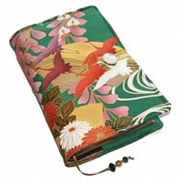 Large Bible Cover or Book Cover, Golden Cranes and Wisteria