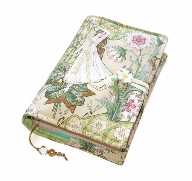 Book Cover, Handmade Bible Cover, Art Nouveau Daisy Maiden fabric