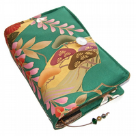 Large Bible Cover or Book Cover, Pine Trees and Wisteria on Green