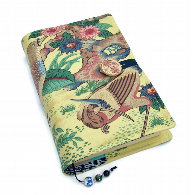 Book Cover, Fabric Bible Cover, UK Seller, Oriental Dynasty Exotic Birds