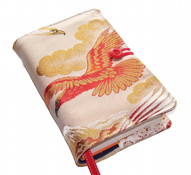 Large Bible or Book Cover, in Japanese Silk Brocade, Red Golden Eagle