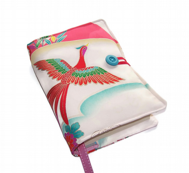Book Cover, Vintage Kimono Silk, Flying Phoenix Red