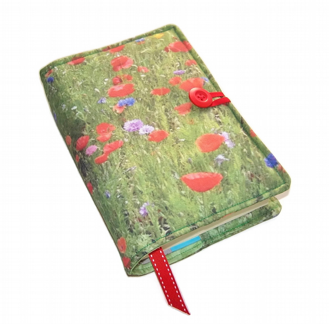 Book Cover in Wild Flower Meadow Poppies fabric