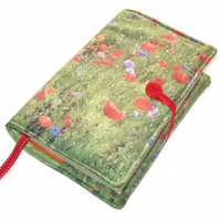 Handmade Book Cover in Poppies Wild Flower Meadow Fabric