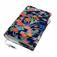 Handmade Book Cover, Chirimen Kimono Silk Crepe, Blossoms on Blue