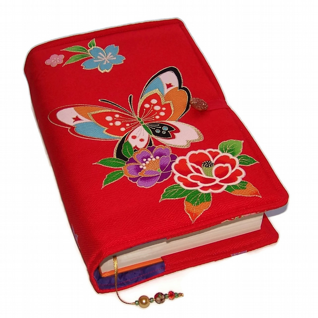 Large Handmade Bible or Book Cover, Kimono Silk, Butterfly Painted Lady