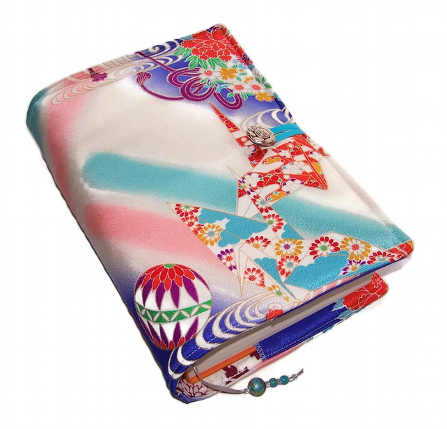 Large Book or Bible Cover, Kimono Silk, Origami Cranes