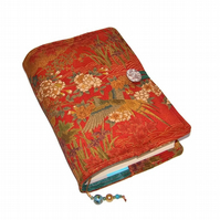 Handmade Book Cover, Vintage Kimono Silk, Golden Forest Birds