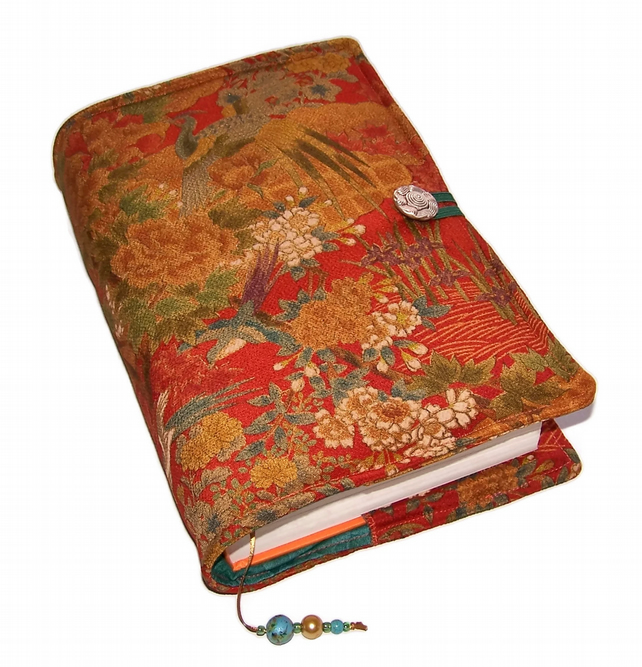 Large Bible Cover, Golden Forest Birds, Book Cover, Kimono Silk fabric