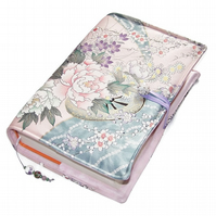 Large Bible Cover, Book Cover, Flower Carriages in Japanese Kimono Silk