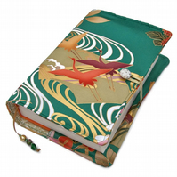 Large Book or Bible Cover, Japanese Silk Kimono Fabric, Flying Cranes on Green