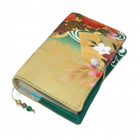 Padded Book Cover or Bible Cover in Japanese Kimono Silk, Golden Glow
