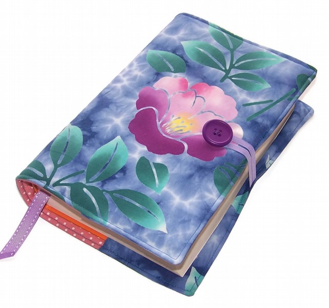Large Book Cover Vintage Kimono Cotton Blue Batik with Purple Blossoms