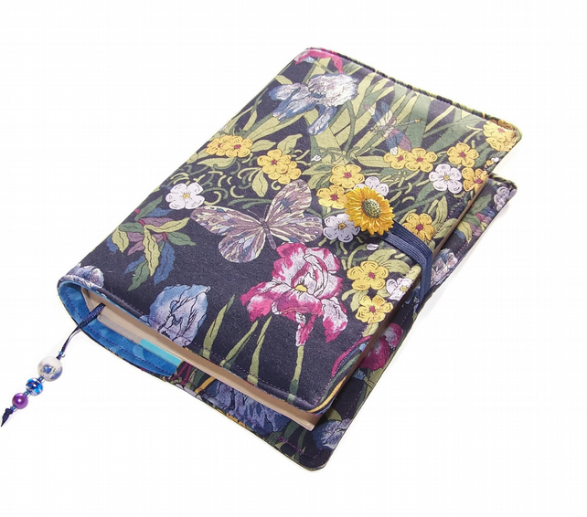 Fabric Book Cover in Vintage Cotton - Art Nouveau Moonlit Garden