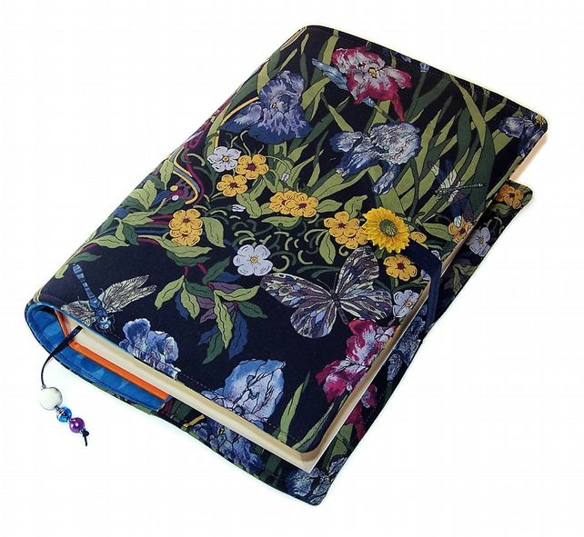 Large Book Cover, Bible Cover in Art Nouveau Moonlit Garden Cotton Fabric