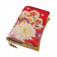 Handmade Book Cover in Kimono Silk Fabric, Japanese Flowers on Red