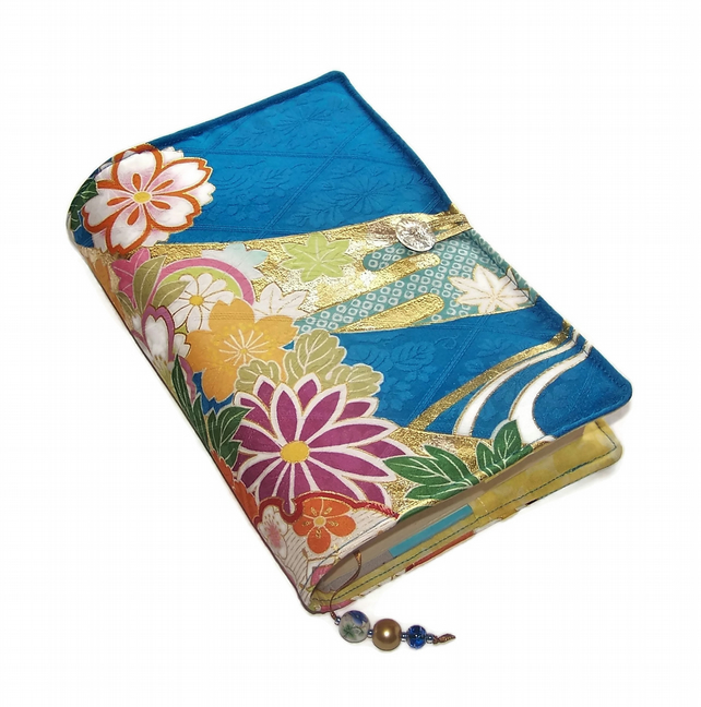 Book Cover in Japanese Kimono Silk, Blossoms on Blue