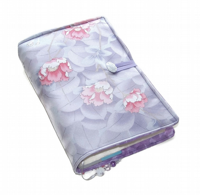 Padded Book Cover, Pink Roses on Lavender, Silk Kimono Fabric