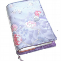 Large Book or Bible Cover in Japanese Kimono Silk, Lavender and Pink Roses