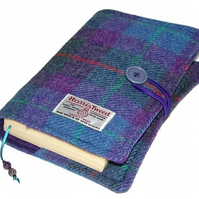 Large Book Cover, Harris Tweed, Purple Heather, for Hardback or Paperback Books