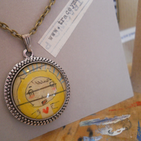 Yellow Girl pendant with antique bronze chain