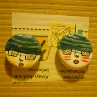 Lovely Earrings Hand Painted Clay