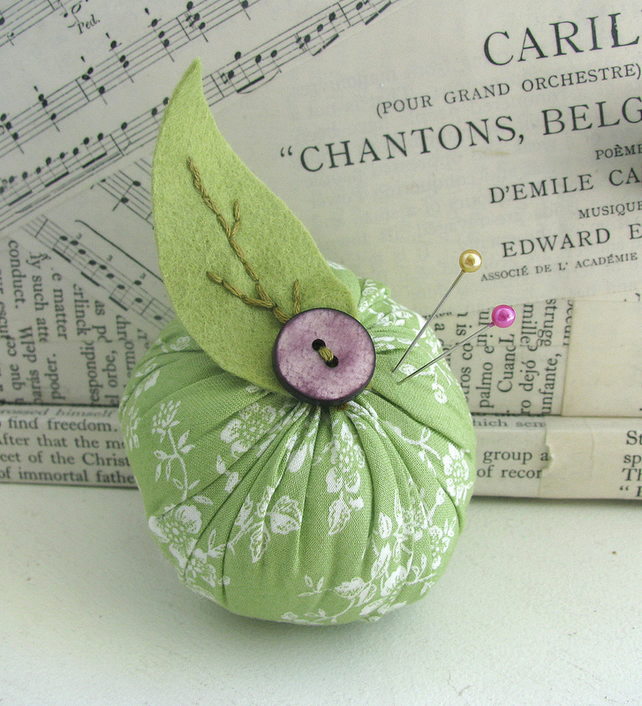 Fabric Green Apple Pincushion