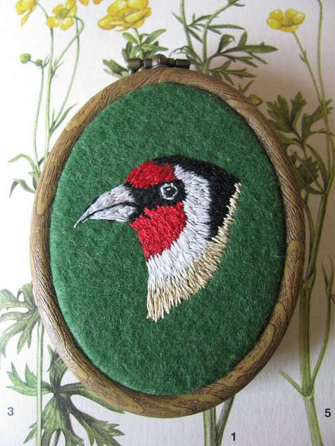 Goldfinch Embroidered Miniature Wall Hanging