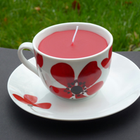 Recycled candle in a Poppy design tea cup - vanilla