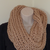 Chunky Knitted Infinity Scarf - Biscuit