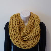 Chunky Knitted Infinity Scarf - Mustard