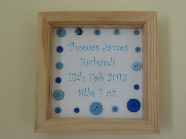 New Baby Personalised Keepsake - Boy