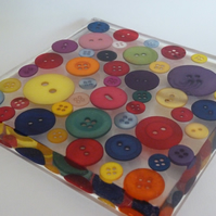 Large Button Square Coaster