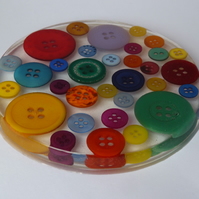Large Button Round Coaster