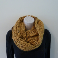 Chunky Knitted Infinity Scarf - Mustard Fleck