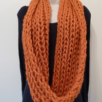 Chunky Loose Knitted Infinity Scarf - Orange