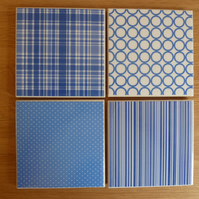 Blue patterned tile coasters - Geometric