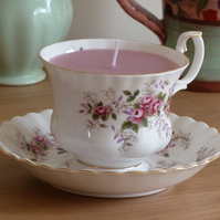 Candle in a tea cup - rose design