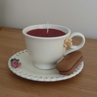 Candle in a cream tea cup - red