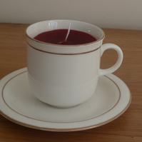 Candle in a small tea cup - recycled red
