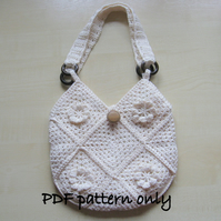 PDF crochet pattern. Lined crochet cotton bag. Permission to sell finished item.
