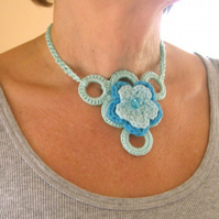 Crochet jewellery for you. Unique necklace. Fully adjustable. Boho design.